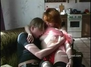Mom in stockings gets an orgasm with son