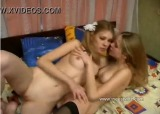 Twin blonde sisters have lesbian sex