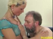 Cute blonde daughter fucks with father