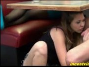 Footjob and BJ for dad under table