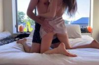 Moaning Teen Twerks on Dick for Deep Creampie Rides Cowgirl in Sexy Satin PJs