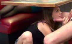 Dad Footjob Blowjob Under Table Girlfriend Unaware